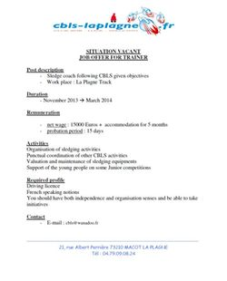 Job Offer La Plagne 1