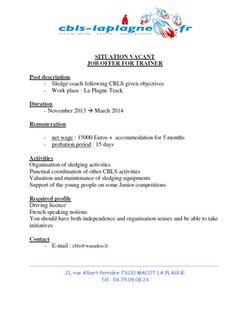 Job Offer La Plagne 1